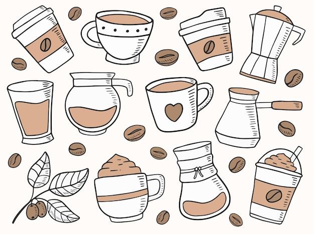 Кофе рисованной каракули иллюстрации