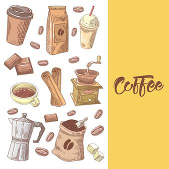 Кофе рисованной каракули с кофейными зернами