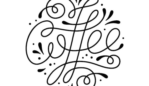 커피. 손으로 그린 글자 텍스트 흰색 바탕에 커피.
