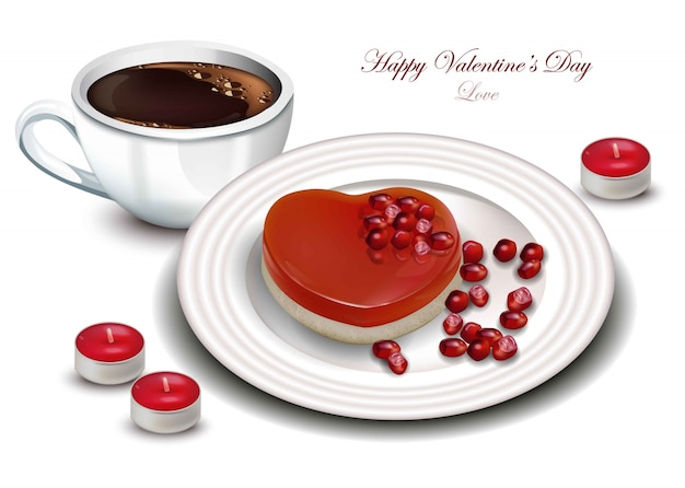 Coffee and heart shape dessert vector realistic. sweet romantic valentine day cards