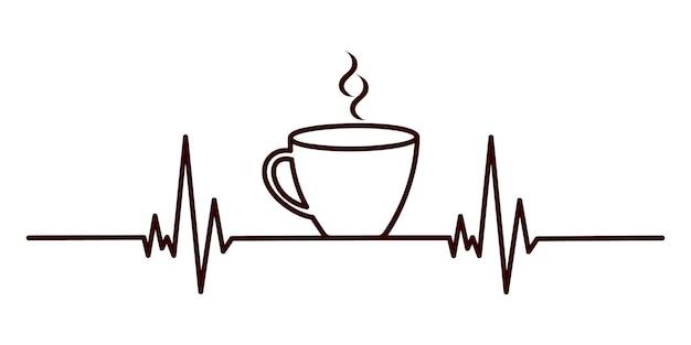 Концепция сердцебиения кофе линия кардиограммы и чашка чая эспрессо или горячего шоколада с ароматным дымом