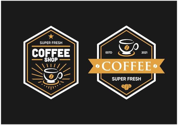 コーヒー六角形のロゴバッジプレミアムベクトル
