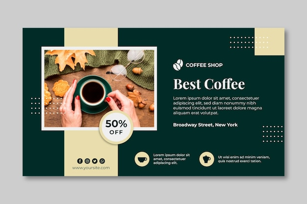 Кофе горизонтальный баннер шаблон
