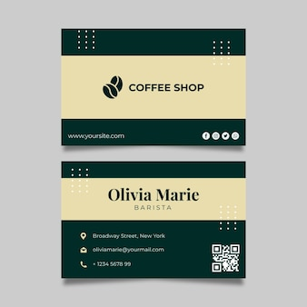 Coffee horizontal business card template