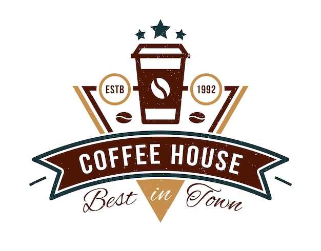 Coffee house badge logo for cafe