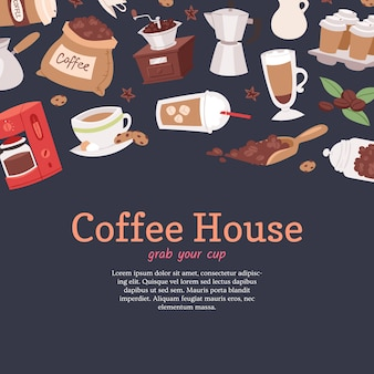 Coffee house banner, poster  illustration with cartoon cappuccino, cups, seeds arabica, cinnamon, milk, coffee pot, cookies, anise and sugar for coffee house service.