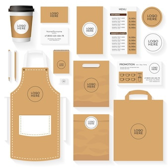 Coffee house corporate identity template design set. restaurant cafe set card, flyer, menu, package, uniform design set.