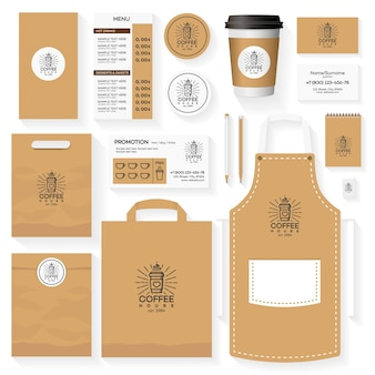 Coffee house corporate identity template design set with coffee house logo and glass of coffee. restaurant cafe set card, flyer, menu, package, uniform design set.