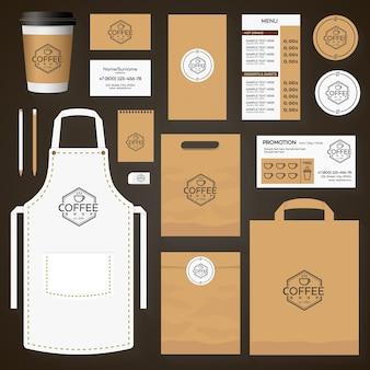 コーヒーショップのロゴと一杯のコーヒーで設定されたコーヒーハウスコーポレートアイデンティティテンプレートデザイン。レストランカフェセットカード、チラシ、メニュー、パッケージ、制服デザインセット。