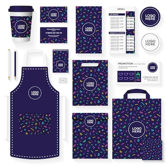 Coffee house corporate identity template design set with color memphis geometric pattern.