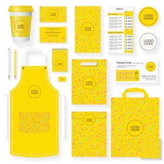 Coffee house corporate identity template set with yellow memphis geometric pattern