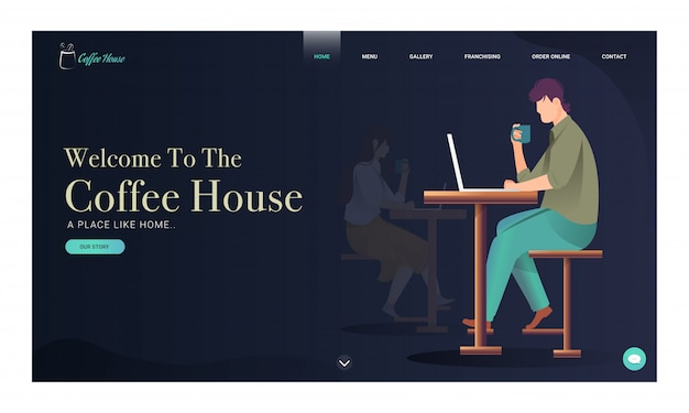 Coffee house landing page  with young boy and girl working in laptop with drinking coffee.