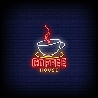 Coffee house logo neon signs style text