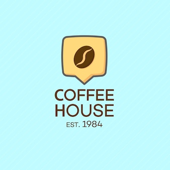 Coffee house logo with bean isolated on turquoise