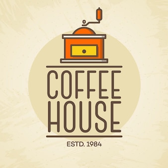 Coffee house logo with coffee machine color style isolated on background for cafe