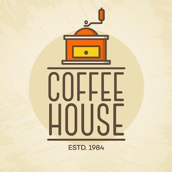 카페 배경에 고립 된 커피 기계 색상 스타일로 커피 하우스 로고
