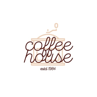 Coffee house logo with coffee machine isolated on white background for market