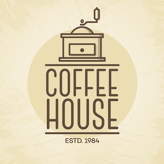 Coffee house logo with coffee machine line style isolated on background for cafe