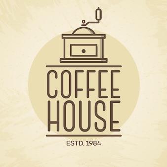 커피 기계 선 스타일 카페 배경에 고립 된 커피 하우스 로고