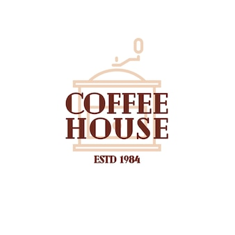 Coffee house logo with coffee machine line style isolated on white background for cafe