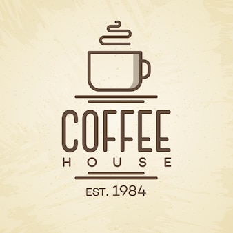 Coffee house logo with cup line style on background for cafe