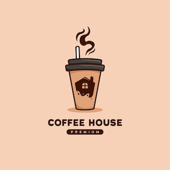 Coffee house logo with house icon inside coffee to go paper cup illustration in cartoon style