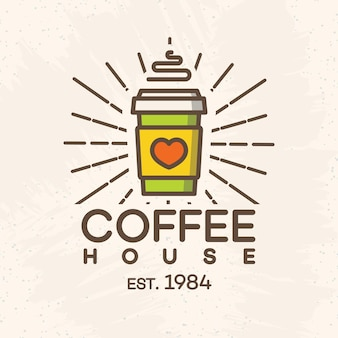 Coffee house logo with paper cup of coffee color style isolated on background for cafe