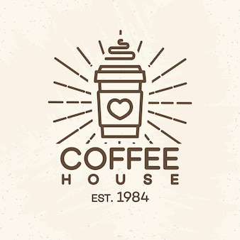 Coffee house logo with paper cup of coffee line style isolated on background for cafe