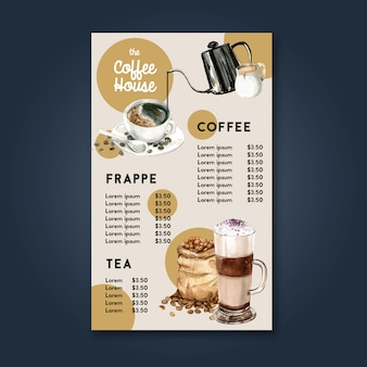 Coffee house menu americano, cappuccino, espresso menu, infographic, watercolor illustration