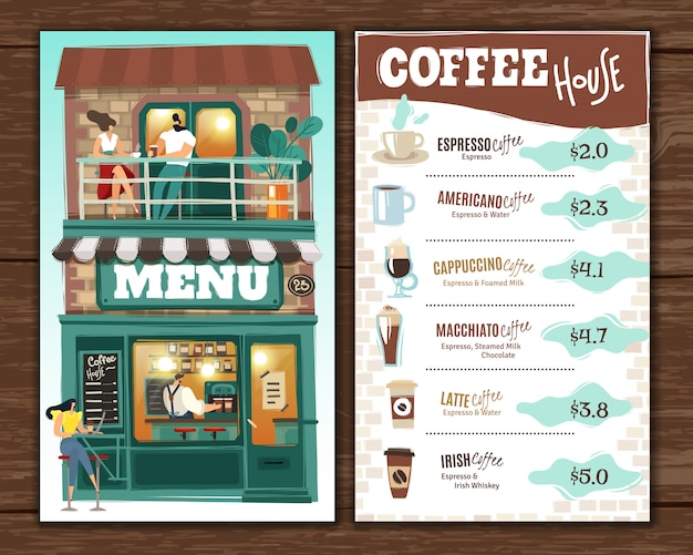 Coffee house menu.