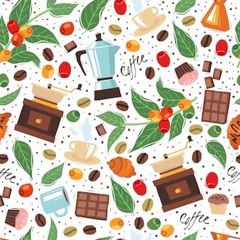 コーヒーハウスのシームレスなパターン白背景。白い背景の上の漫画のコーヒーのシームレスなパターン。