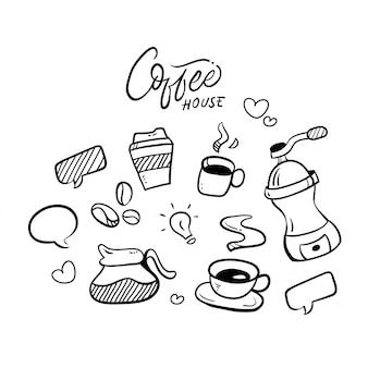 Coffee house set hand drawn illustration