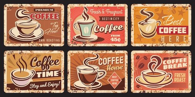 커피 하우스, 상점 및 로스터리 녹슨 금속판