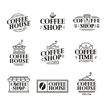 Coffee house and shop logo set with paper cup of coffee