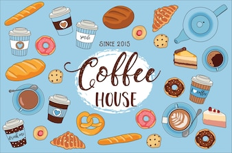 Coffee house - vector illustration with lettering and different breads, croissants, cookie