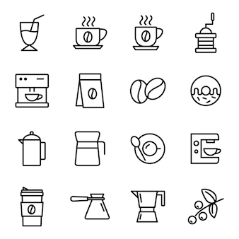 Coffee icon pack, outline icon style