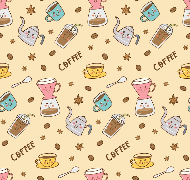 Coffee icon set pattern in kawaii doodle style