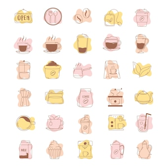Coffee icons cup kettle teapot bean machine line and fill