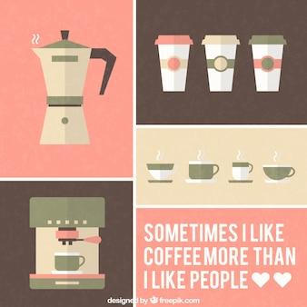 Icone di caffè in stile retrò