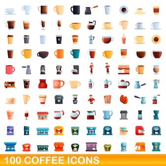 Набор иконок кофе. карикатура иллюстрации кофе иконок на белом фоне