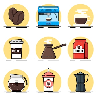 Coffee illustration set