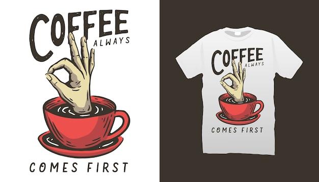 Дизайн футболки иллюстрации кофе