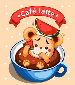 クマとスイカとコーヒーのイラスト