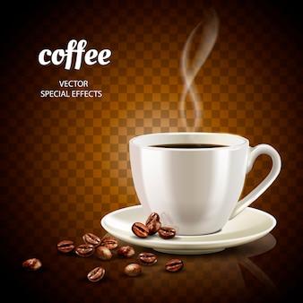 Кофейная иллюстрация с заполненной кофейной чашкой и несколькими кофейными зернами, иллюстрация