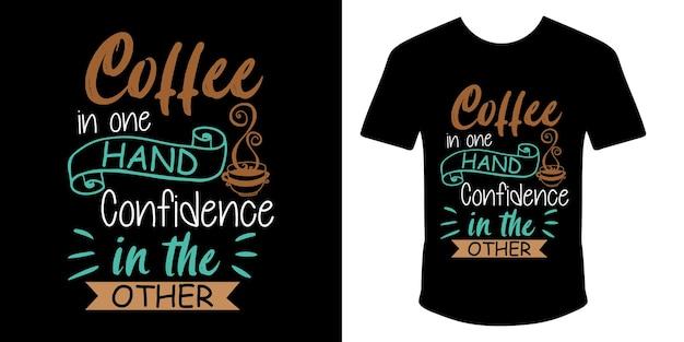 片手にコーヒー、もう片方のタイポグラフィtシャツのデザインに自信