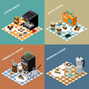 Coffee isometric design concept