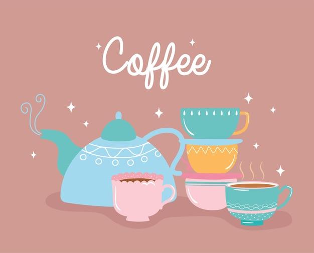 Чайник и чашки свежего горячего напитка иллюстрация