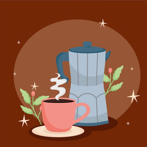Coffee kettle and cup