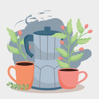 Coffee kettle and cups
