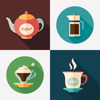 Coffee kettles with coffee cups flat square and round icons.